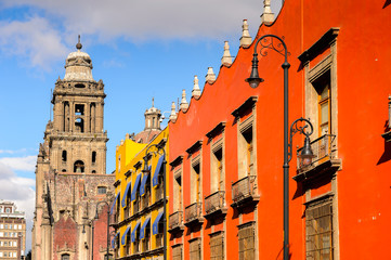 Architecture of the historic part of Mexico City, DF, the capital and most populous city of Mexico