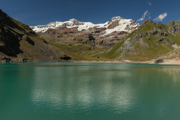 Acrylic Prints Reflection View to Monte Rosa mount and Gabiet Lake. Italian Alps