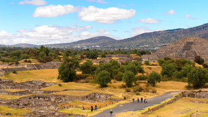 Panorama of Teotihuacan from the Piramid of the Sun, site of many Mesoamerican pyramids built in the pre-Columbian Americas. UNESCO World Heritage