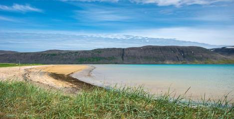 Aluminium Prints Blue Patreksfjordur beach, West Fjords, Iceland