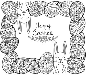 Happy Easter banner. Zen tangle eggs with decorative ornamental elements,rabbits,bunny.