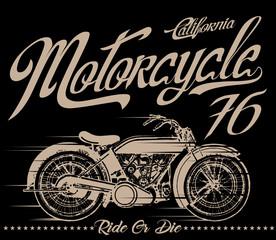 Vintage Motorcycle hand drawn vector tee graphic design