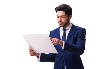 Businessman working on tablet isolated on the white background