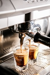 Close-up of espresso pouring from coffee machine, 에스프레소머신