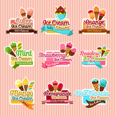 Ice cream sorts stickers vector icons set for cafe