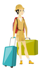 Young asian woman traveler with many suitcases.