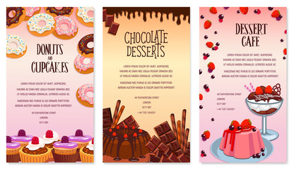 Vector desserts menu template for bakery or cafe