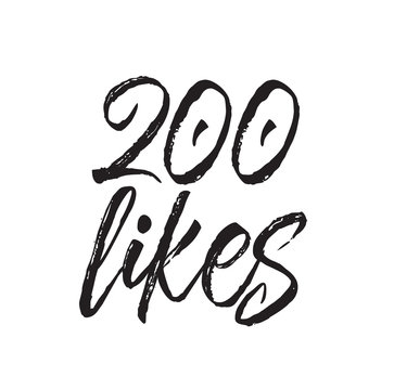 200 likes, text design. Vector calligraphy. Typography poster.