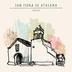 San Pedro de Atacama Chile. Travel vintage postcard