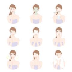 スキンケアをする女性 / 美容