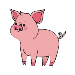 cute pig animal, cartoon icon over white background. vector illustration