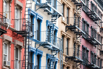 Fototapete - Colorful row of buildings in Greenwich Village New York City NYC