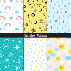 Vector illustration of seamless pattern background set with sun, star, rain, snowflakes, cloud and rainbow.
