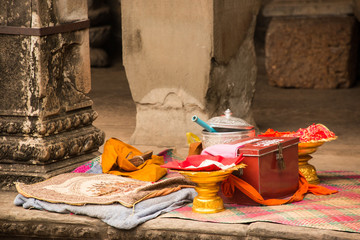 Pooja articles for worship in Buddhist temple