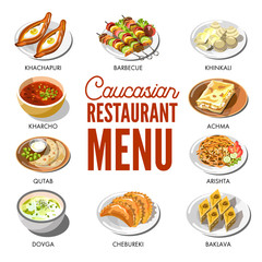 Caucasian restaurant menu with traditional dishes on plates