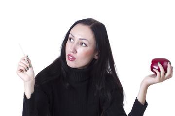 Lovely woman hands an apple