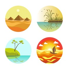 Landscape round icons colorful set isolated on white