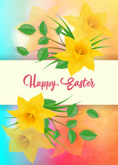 Happy Easter Lettering With Daffodils