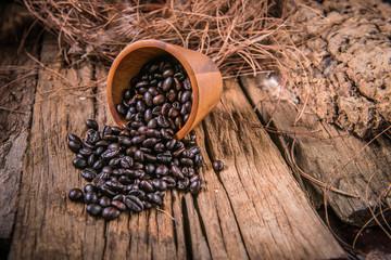 coffee seed on wood