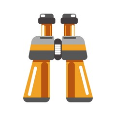 Binoculars device in orange color isolated on white