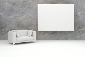 White chair and frame photo of cement wall in background. 3d rendering.