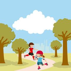 Girl riding skates, cartoon icon over landscape background. colorful design. vector illustration