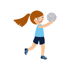 girl playing volleyball, cartoon icon over white background. colorful design. vector illustration