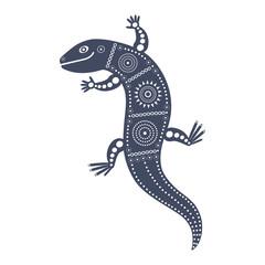 Синее графическое декоративное изолированное изображение ящерицы в племенном стиле.