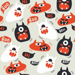 Seamless pattern of cute and funny cartoon monsters.