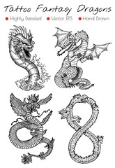 Tattoo set with hand drawn fantasy dragons.  Vector illustration