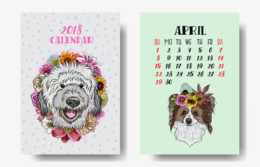 Calendar 2018 monthly. Cute dogs. 2018 Chinese new year with text and dog zodiac and flowers decoration vector design.