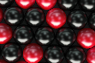 Pattern of black and red spheres