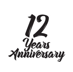 12 years anniversary, text design. Vector calligraphy. Typography poster.