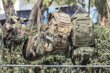 army bag in street market