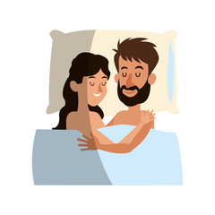 happy couple with rest position, cartoon icon over white background. colorful design. vector illustration