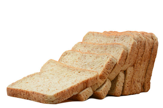 Sliced whole wheat bread isolated on white