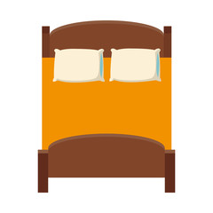 double bed icon over white background. colorful design. vector illustration