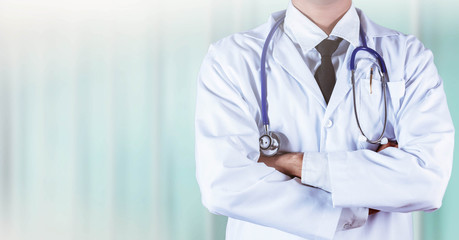 doctor and stethoscope on neck.