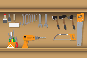 shelf of worker tools equipment