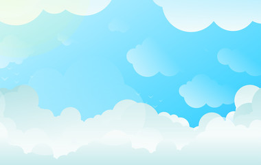 Background with Copyspace of Clouds in Balanced Gradient Vector and Bright Contrasting White and Blue