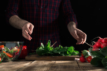 Man preparing salad with fresh vegetables on wooden table