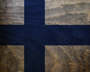Finland Wood Textured Flag -
