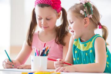 Little girls drawing
