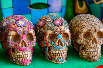 Decorated skull, Authentic handcraft souvenirs of maya civilisation