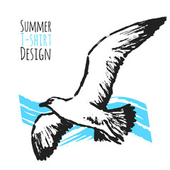 Summer T-shirt Design with Flying Seagull