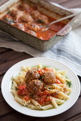 Pasta and Meatballs with Sauce
