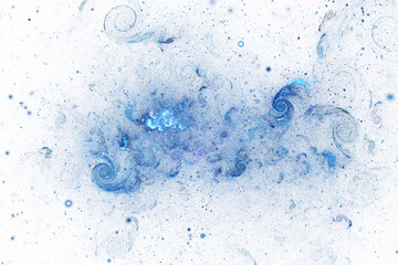 Bright galaxy. Abstract blue sparkles and curls on white background. Fantasy fractal texture. Digital art. 3D rendering.
