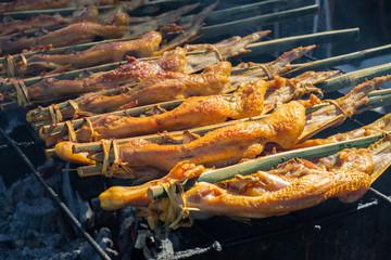 Grilled chicken on stick. Thai Local northeast street food