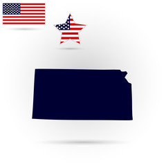 Map of the U.S. state of Kansas on a gray background. American flag, star