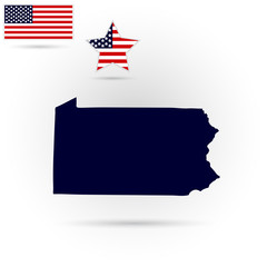 Map of the U.S. state of Pennsylvania on a gray background. American flag, star